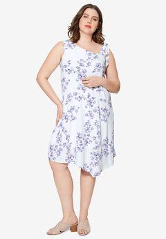 Shoulder Tie Dress by ellos®, WHITE FLORAL PRINT