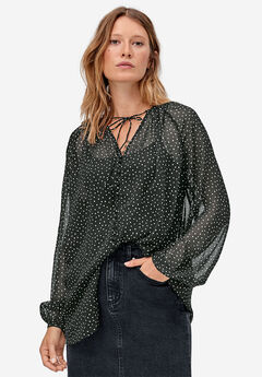 Tie-Neck Sheer Tunic by ellos®, BLACK WHITE DOT