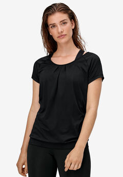 Pleated-Front Cap Sleeve Tee by ellos®, BLACK