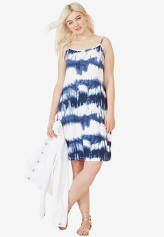 Tank A-line Dress by ellos®, BLUE WHITE PRINT