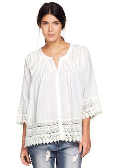 Crochet Trim Blouse by ellos®, WHITE, hi-res
