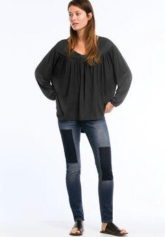 Oversized Shirred Yoke Tunic by ellos®, BLACK, hi-res