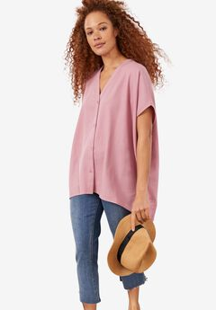Button-Front Linen-Blend Tunic,