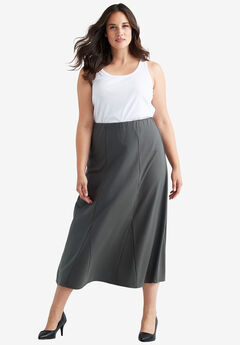 Flared Elastic Waist Skirt by ellos®, CHARCOAL, hi-res