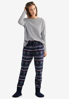 Fair Isle Fleece Pajama Pants by ellos®,