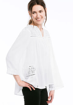 Lace Trim Crinkle Flowy Blouse by Ellos®, WHITE, hi-res