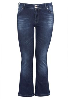 Back Elastic Bootcut Jeans by ellos®, MEDIUM STONEWASH, hi-res
