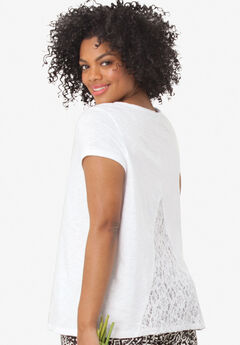 Lace Back Knit Tunic by Ellos®, WHITE, hi-res