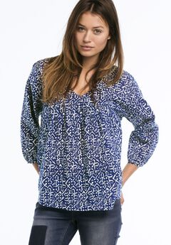 Relaxed Shirred Peasant Blouse by Ellos®, DARK SAPPHIRE WHITE PRINT, hi-res