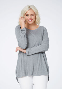 High/low Shirttail Hem Tunic by ellos®, HEATHER GREY, hi-res