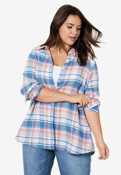 Plaid Flannel Shirt by ellos®, ROSE BLUSH PLAID