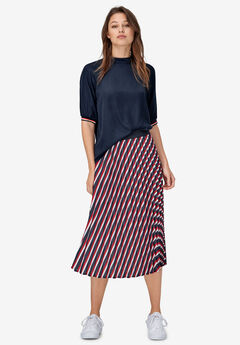Stripe Sleeve Mock Neck Top by ellos®, RICH NAVY