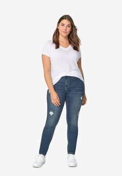 Distressed Skinny Jeans by ellos®, MEDIUM STONEWASH, hi-res