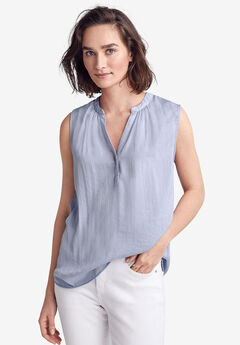 Notch-Front Sleeveless Blouse by ellos®, ICY BLUE