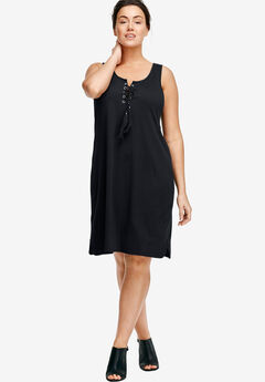 Lace-Up Knit Dress by ellos®, BLACK, hi-res
