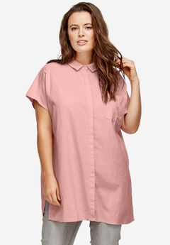 Oversized Linen Blend Tunic by ellos®, PINK PEACH, hi-res