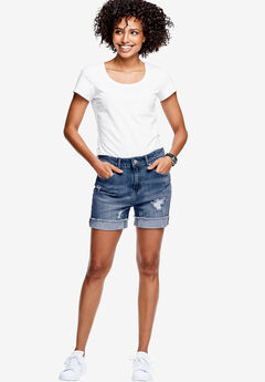 Frayed Hem Shorts by ellos®, MEDIUM BLUE DISTRESSED, hi-res