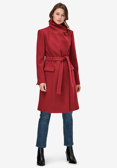 Wrap-Collar Wool-Blend Coat by ellos®,