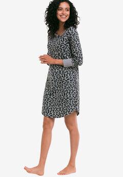 Long Sleeve Henley Sleepshirt by ellos®, HEATHER GREY BLACK ANIMAL, hi-res