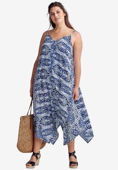 Printed Hanky Hem Dress by ellos®, NAVY/WHITE PAISLEY PRINT, hi-res