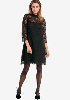 A-Line Scalloped Lace Dress by ellos®, BLACK, hi-res