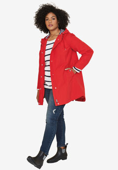 Snap-Front Hooded Raincoat by ellos®, HOT RED, hi-res
