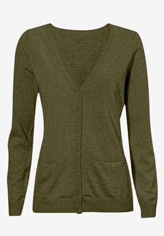 Everyday Cardigan by ellos®, DARK BASIL, hi-res