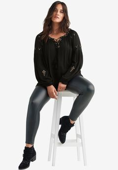Embroidered Wildflower Blouse by Ellos®, BLACK, hi-res