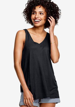 Lace-Back Tunic Tank by ellos®, BLACK, hi-res