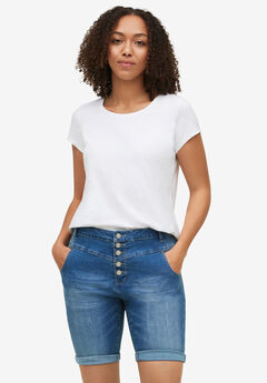Button-Front Denim Shorts,