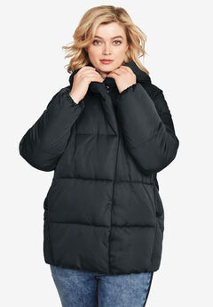 Shawl Collar Puffer Jacket by ellos®, BLACK