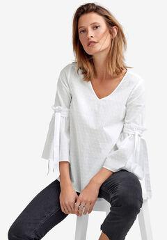 Tie-Sleeve Swiss Dot Blouse by ellos®,