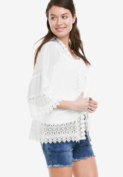 Sheer Lace Trim Kimono Cardigan by ellos®, WHITE