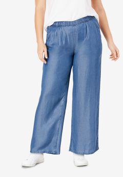 Wide Leg Elastic Waist Denim Pants by ellos®,