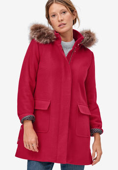 Side-Snap Wool Parka by ellos®, CLASSIC RED