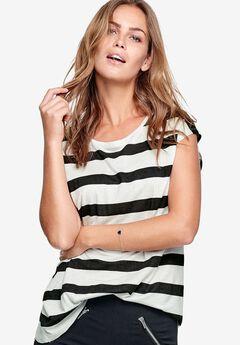 Drapey Cap Sleeve Tee by Ellos®, BLACK WHITE STRIPE, hi-res