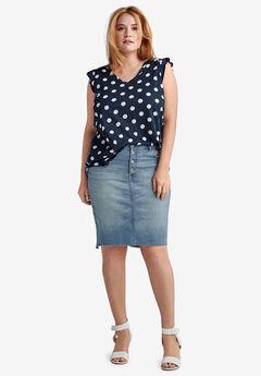 Raw High-Low Hem Denim Skirt by ellos®,