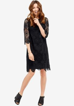 Iris Scalloped Lace Dress by ellos®, BLACK, hi-res