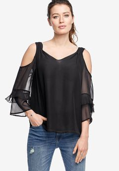 Ruffled Cold-Shoulder Blouse by ellos®, BLACK