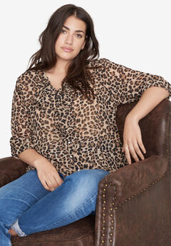 Ruffle-Front Tie-Neck Sheer Blouse by ellos®, LEOPARD PRINT