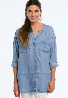 Button Front Patch Pocket Tencel Tunic by Ellos®, BLEACH, hi-res