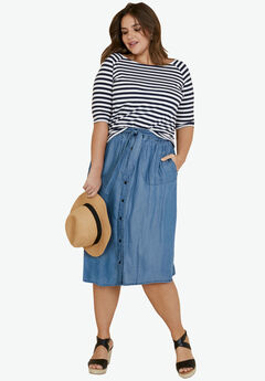 Tencel Button Front Skirt by ellos®,