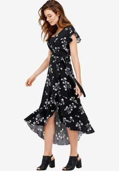 Primrose Wrap Dress by Ellos®, BLACK FLORAL, hi-res