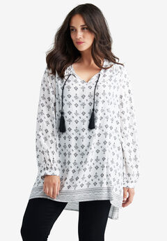 Border Print Tunic by Ellos®, WHITE BLACK PRINT, hi-res