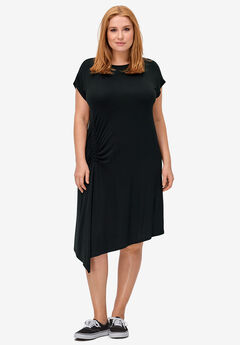 Ruched Side Knit Dress by ellos®, BLACK