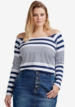 Off-The-Shoulder Tee by ellos®, WHITE NAVY STRIPE, hi-res