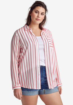 Striped Button-Front Tunic by ellos®, HOT RED STRIPE, hi-res