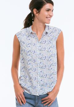 Sleeveless Button Front Blouse by ellos®, FLORAL PRINT, hi-res