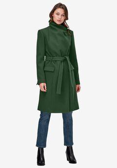 Wrap-Collar Wool-Blend Coat,