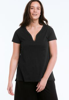 Beaded Trim Tee by ellos®, BLACK, hi-res